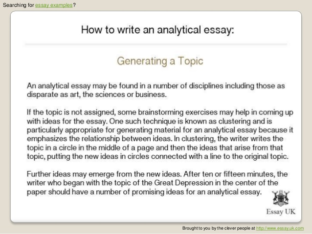 Sample of analytical essay